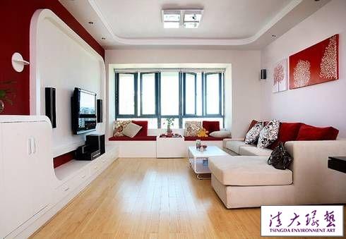 100平米简约舒适装饰 红白配色彰显现代温馨气息