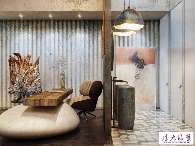 轻工业风时尚软装餐厅设计中洋溢着艺术气息