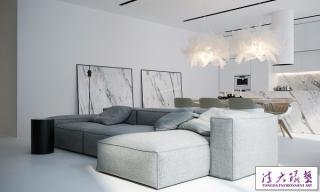 巴黎黑白色调极简大气公寓设计