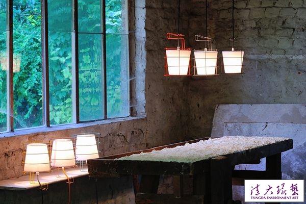 吊顶+台灯 铜线勾勒纯粹的白色极简灯具
