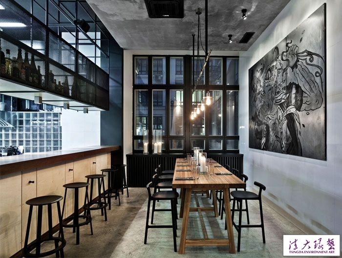 火树银花工业风格时尚餐厅室内软装设计