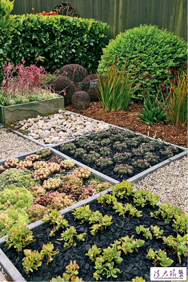 几何图形拼铺出的有机花园