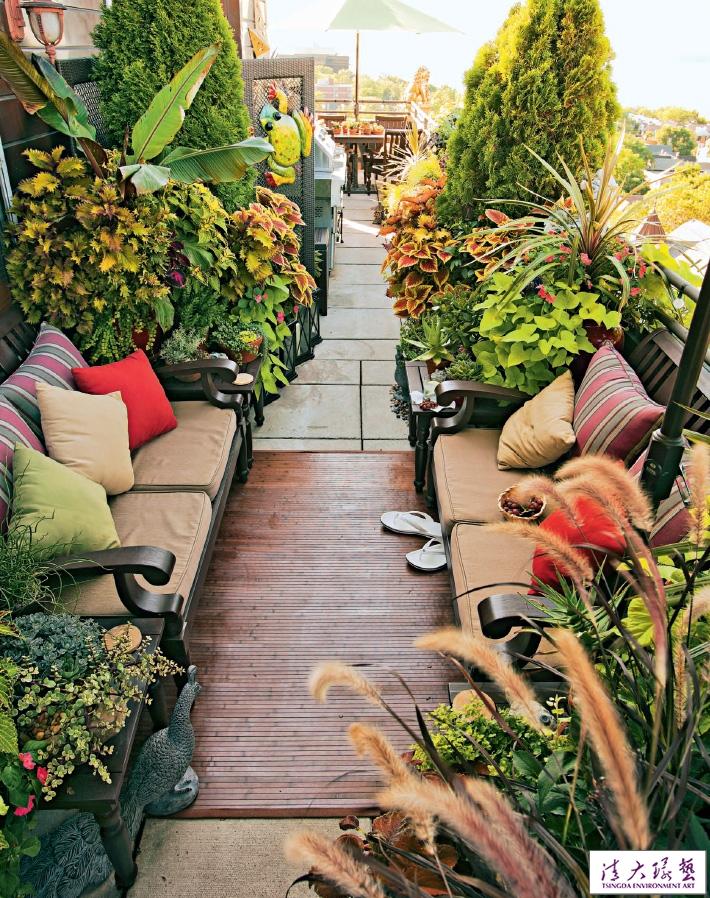 狭长露台花园布置实用守则