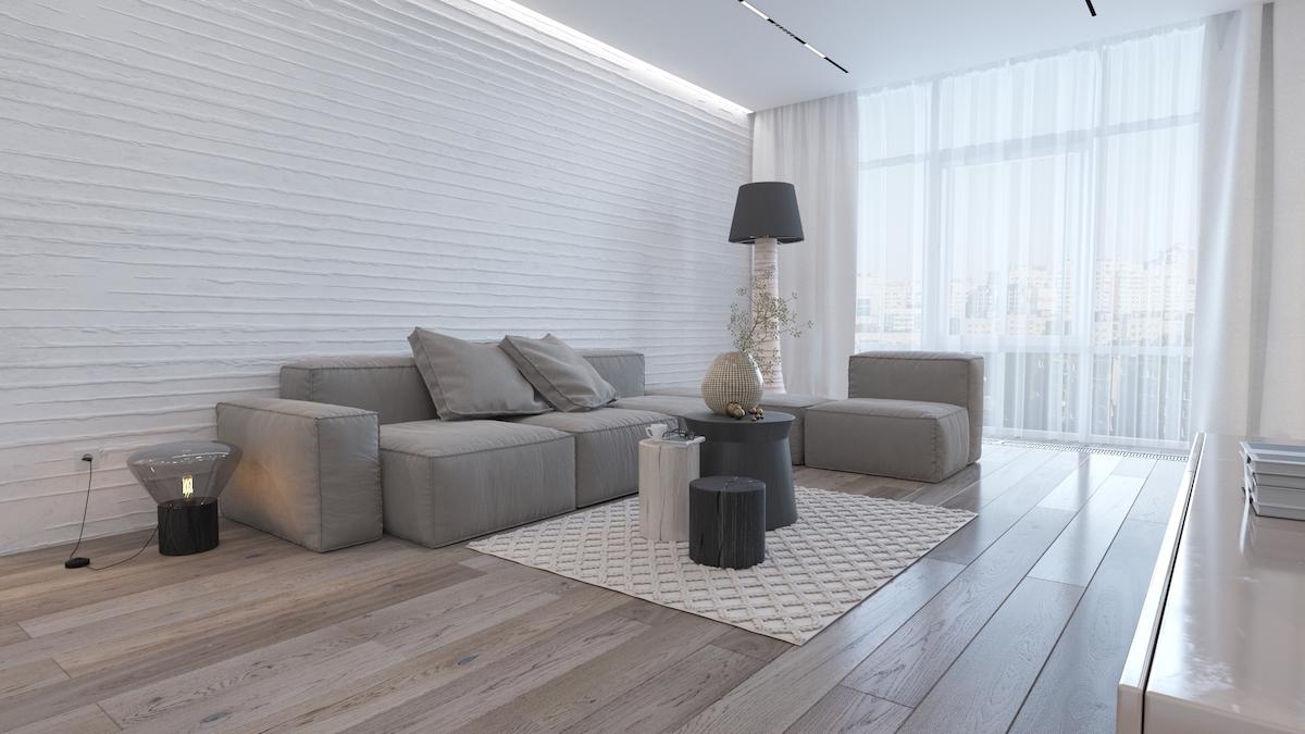极简主义公寓与民族风味和独特的纹理阵列