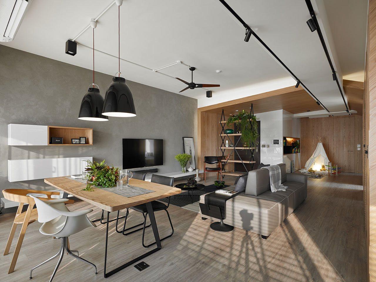 采用木材表面为室内空间创造舒适温馨的感觉