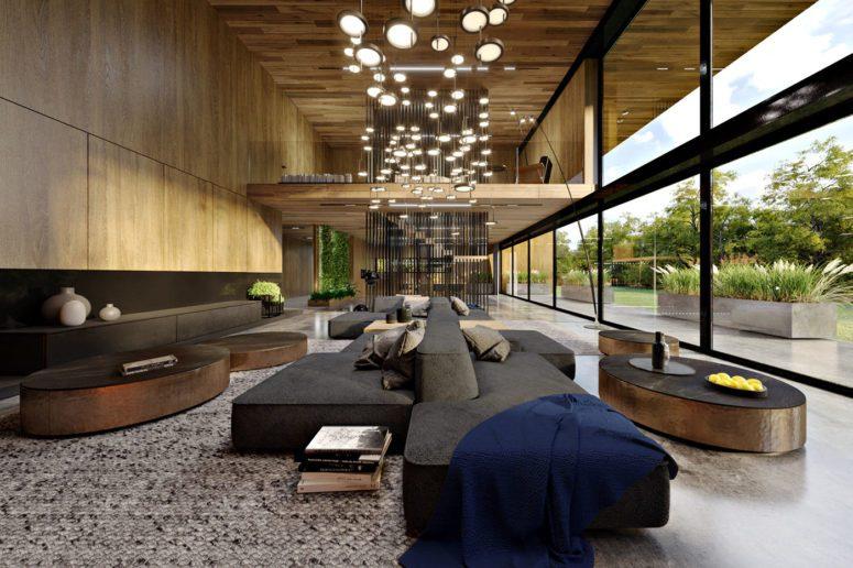 高端住宅室内装饰着天然橡木并与户外橡木森林相连景色令人惊叹