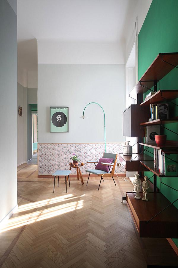 色彩丰富的米兰公寓室内软装韵律感十足