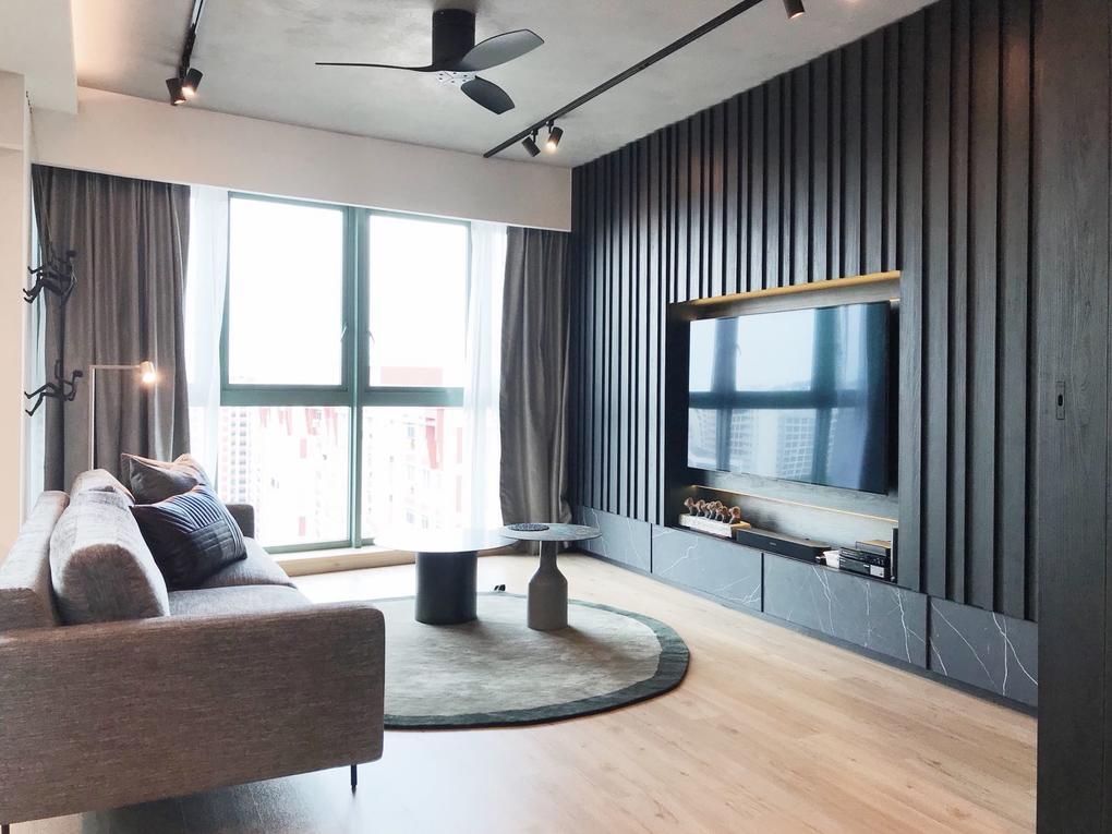 房子旅游:一个优雅、单色的三居室公寓在Choa Chu Kang