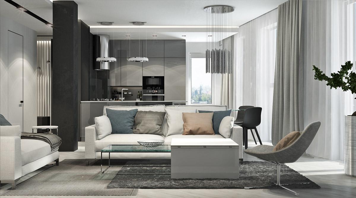 现代家庭公寓的腮红、黑白装饰