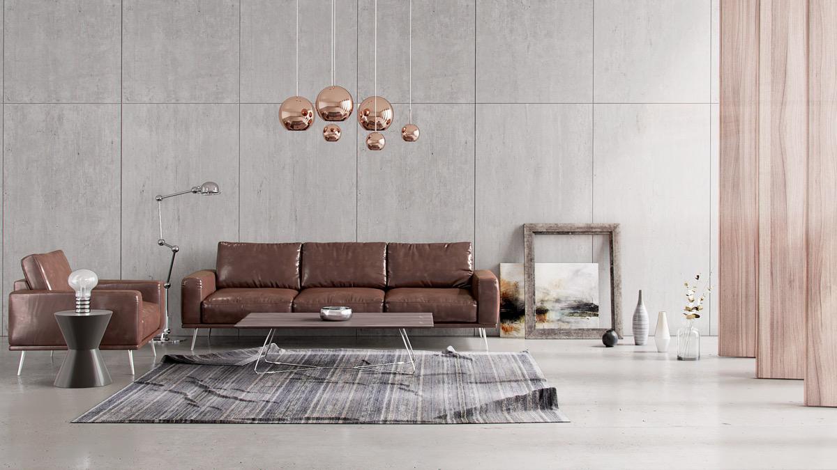 棕色沙发的客厅-装饰灵感