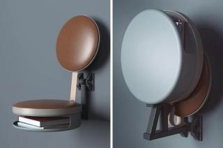 可存放杂志的折叠壁椅