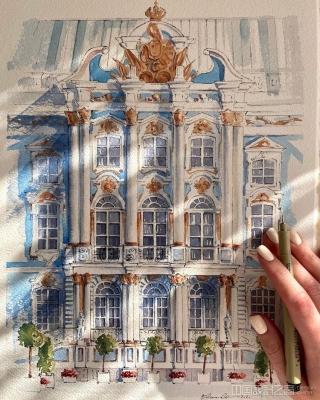 这些精致的城市水彩画,会让你迷恋上欧洲古典建筑