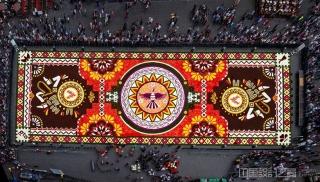 影片记录片:数千朵鲜花编织成一条70米长、24米宽的花卉地毯。